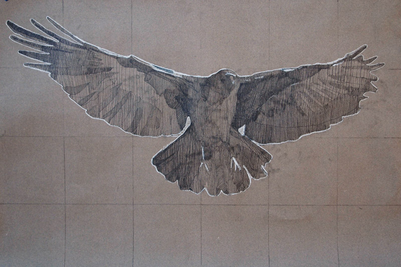 As the Crow Flies, pencil and chalk on toned paper, 24 x 36 in.