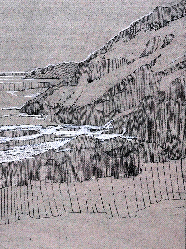 Sand Beach, right side. graphite and chalk on toned board, 12 x 18 inches