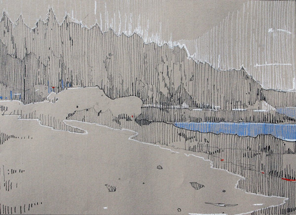 Landing Beach, Left. Pencil and Conte on Canson