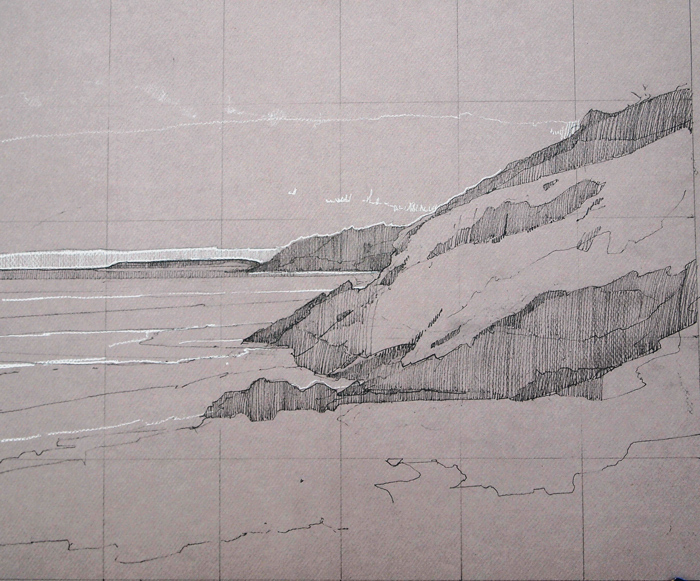 Sdnd Beach, Right Side, pencil and Conte on Canson, 12 x 18 inches