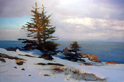 Spruce and Snow, 24 x 36 inches, oil on panel, Work in Progress