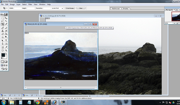 painting  and site photo both up in photoshop