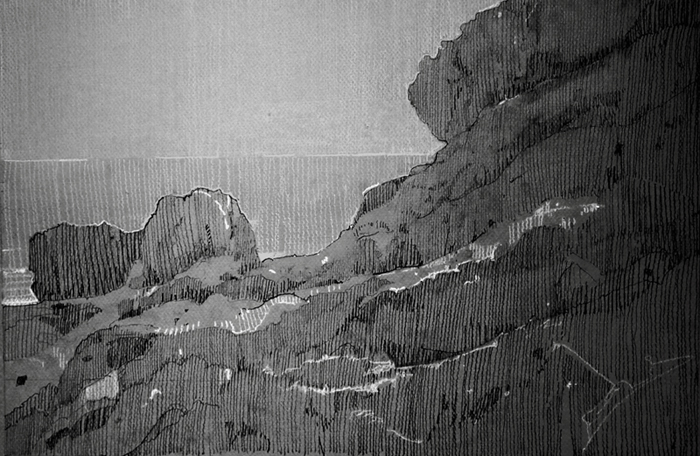 Rocky Shoreline, graphite and Conte on Canson board. 12 x 18 inches